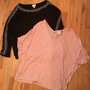 Bundle of 2 Ava and Viv pink/black top size 4x